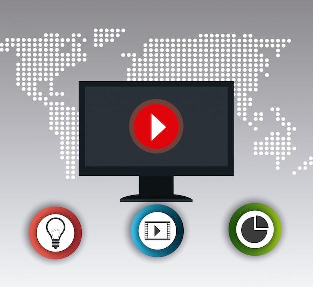 Wereld verbindingen en zakelijke infographic Gratis Vector