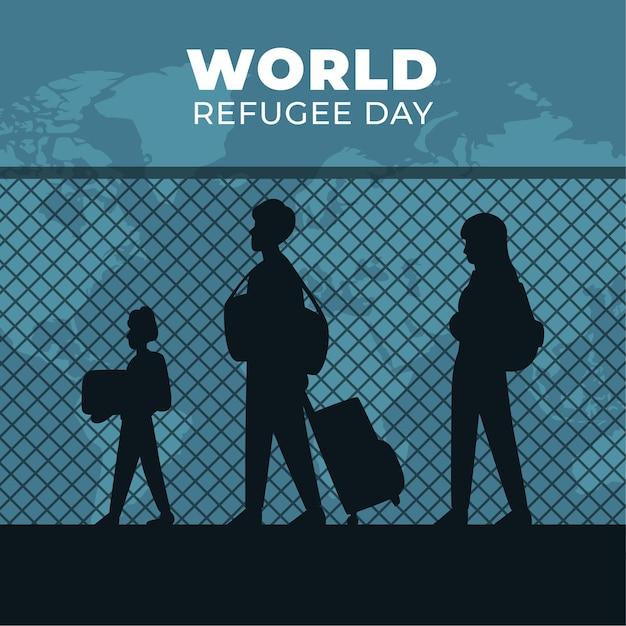 Wereld vluchtelingendag met mensen silhouetten Gratis Vector