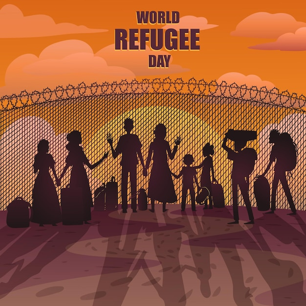 Wereld vluchtelingendag met silhouetten Gratis Vector