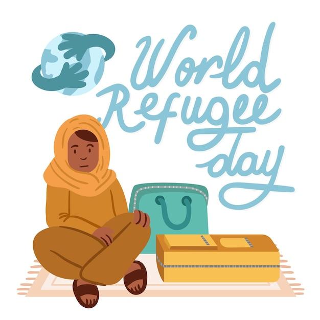 Wereld vluchtelingendag tekenen thema Gratis Vector