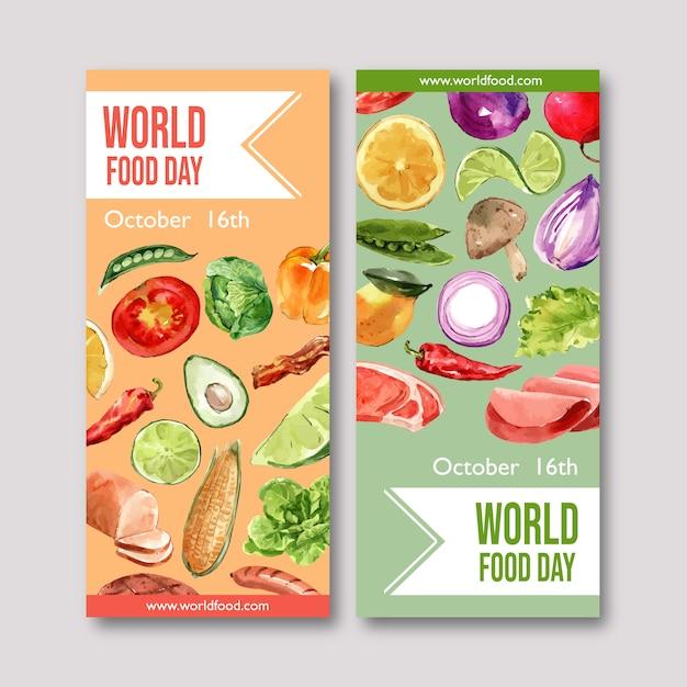 Wereld voedsel dag flyer met avocado, ui, paprika aquarel illustratie. Gratis Vector