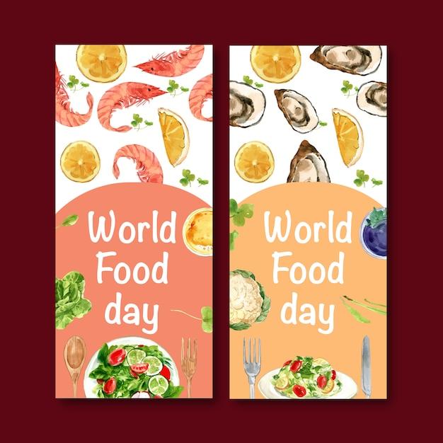 Wereld voedsel dag flyer met garnalen, clam, sinaasappel, salade aquarel illustratie. Gratis Vector