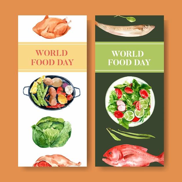 Wereld voedsel dag flyer met kip, kool, vis, salade aquarel illustratie. Gratis Vector