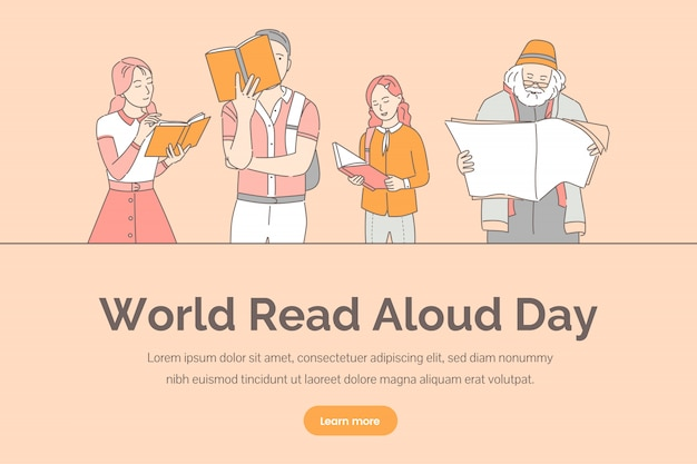 Wereld voorgelezen dag sjabloon voor spandoek. mensen die boeken, kranten en tijdschriften lezen. Premium Vector
