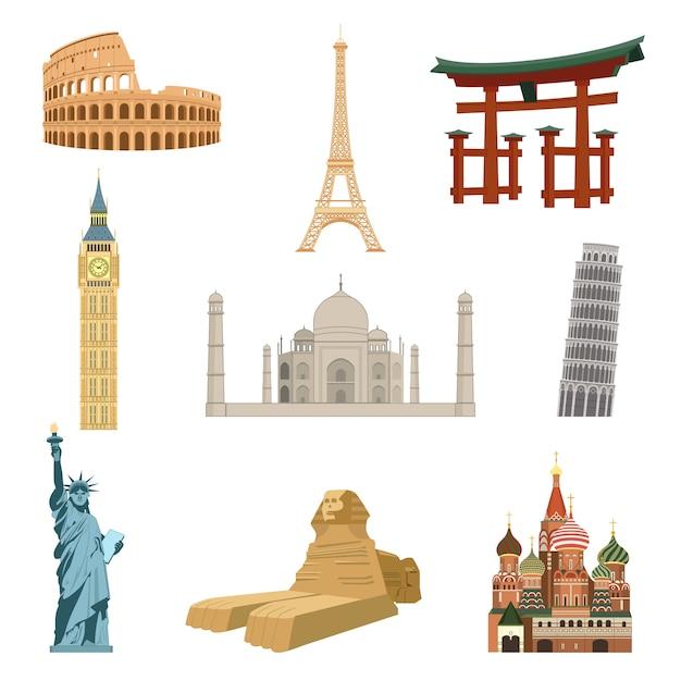 Wereldberoemde bezienswaardigheden set van eiffeltoren standbeeld van vrijheid taj mahal geïsoleerde vectorillustratie Gratis Vector