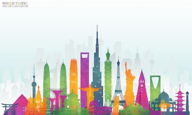 Wereldberoemde landmark kleurrijke kunst Premium Vector