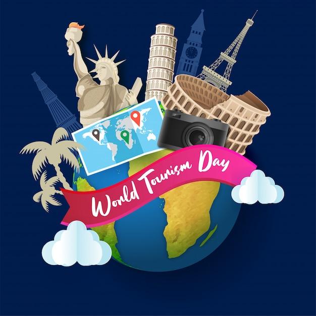 Wereldberoemde monumenten met locatiekaart en fotocamera voor wereldtoerismedag Premium Vector