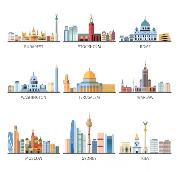 Wereldberoemde stadsgezichten vlakke pictogrammeninzameling Gratis Vector