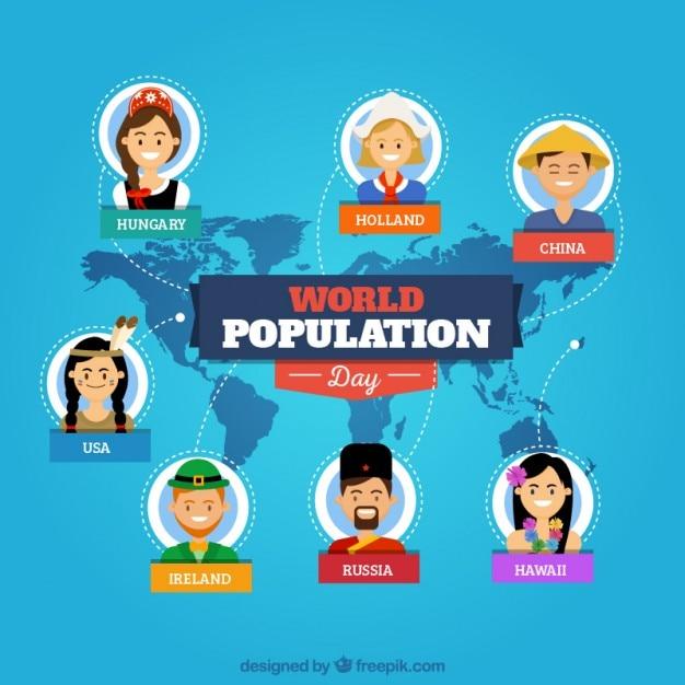 Wereldbevolking dag achtergrond met nacionalities Gratis Vector