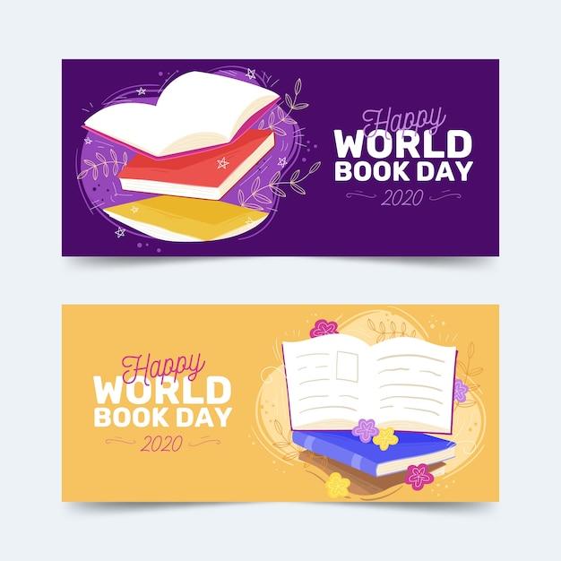 Wereldboek dag banners hand getrokken Gratis Vector