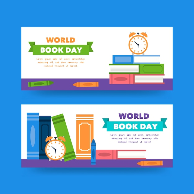 Wereldboek dag banners in platte ontwerp Gratis Vector