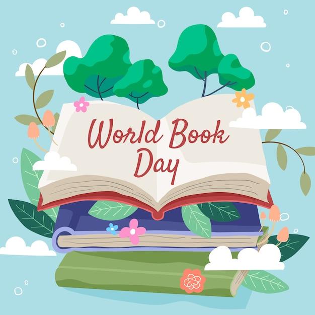 Wereldboek dag hand getrokken Gratis Vector