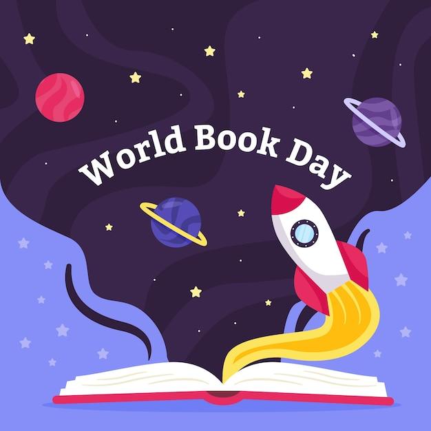 Wereldboek dag vlakke stijl Gratis Vector