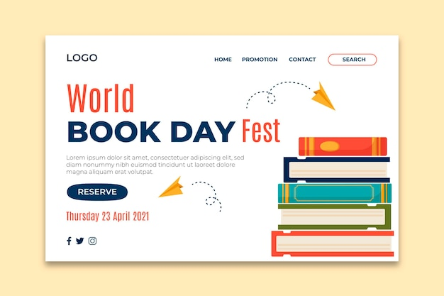 Wereldboekdag bestemmingspagina sjabloon Gratis Vector
