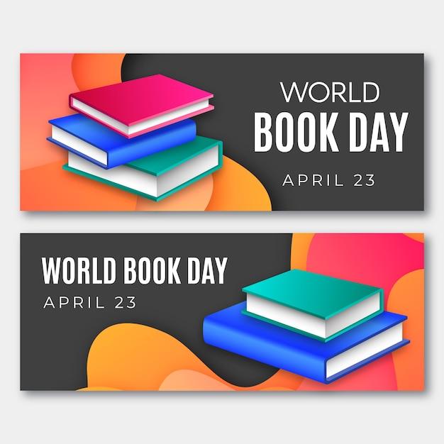 Wereldboekendag banners Gratis Vector