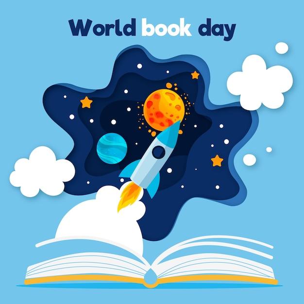 Wereldboekendag met open boek en raket Gratis Vector