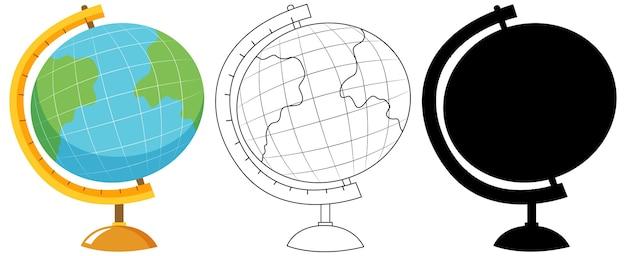 Wereldbol met zijn omtrek en silhouet Gratis Vector