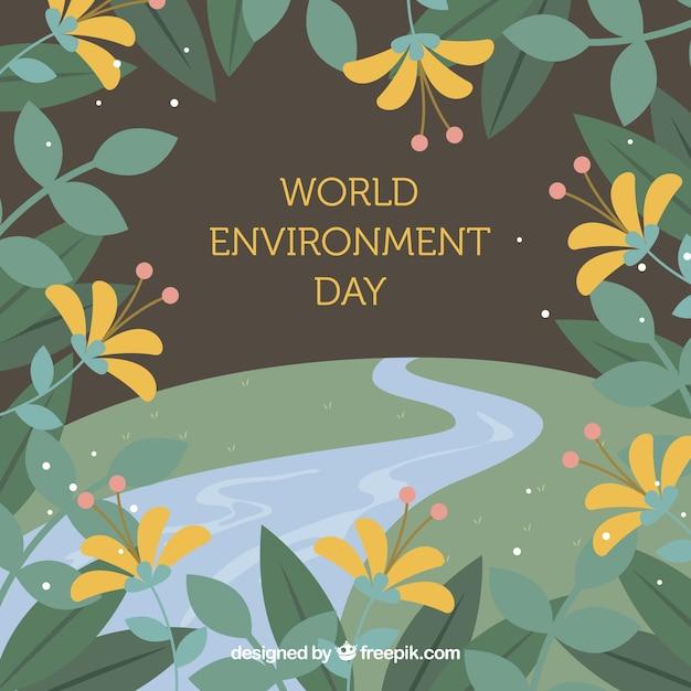 Werelddag milieu achtergrond met bloemenframe Gratis Vector