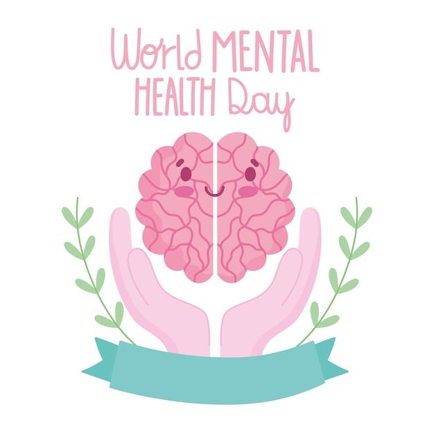Werelddag voor geestelijke gezondheid, cartoon hersenen in handen lint kaart Premium Vector