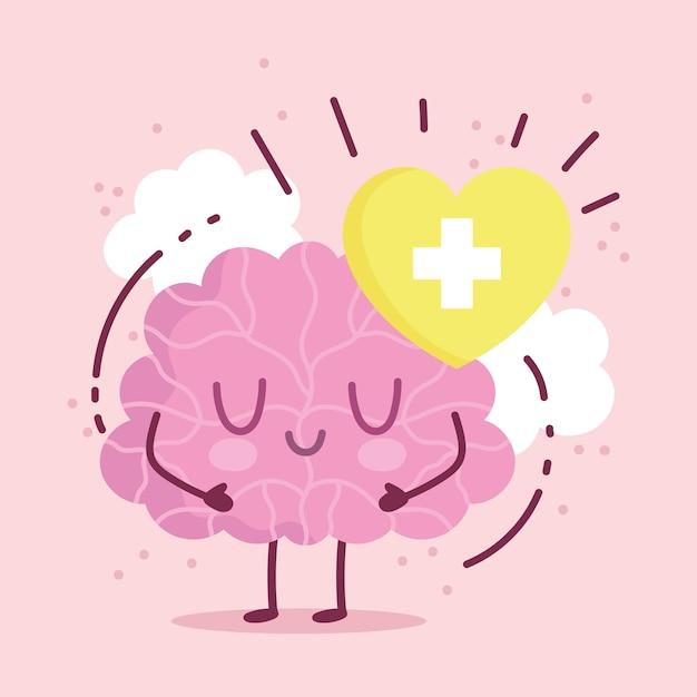 Werelddag voor geestelijke gezondheid, cartoon hersenen karakter hart medisch Premium Vector
