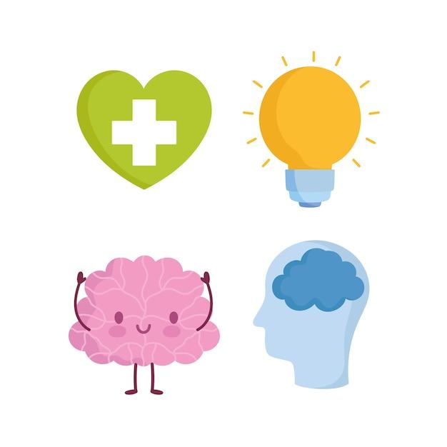 Werelddag voor geestelijke gezondheid, cartoon hersenen profiel menselijk hoofd hart lamp pictogrammen Premium Vector