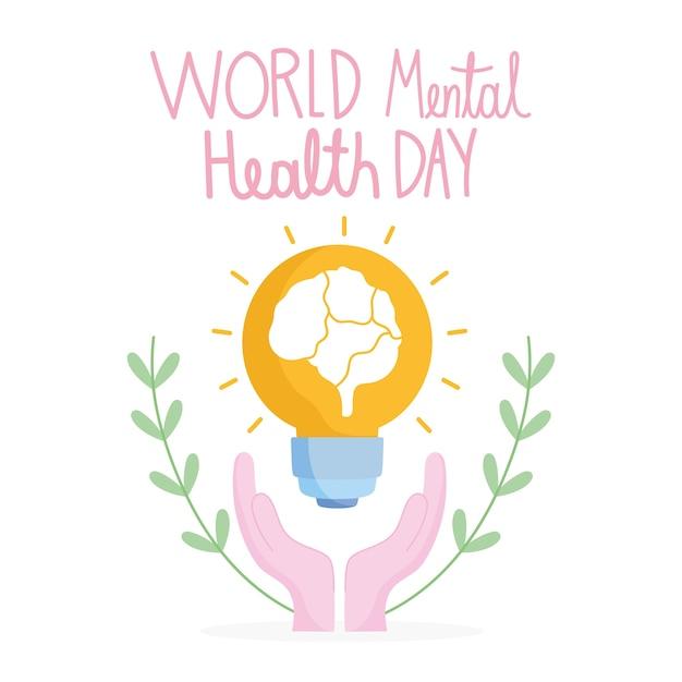 Werelddag voor geestelijke gezondheid, handen met hersenen ter ondersteuning van gloeilampen Premium Vector
