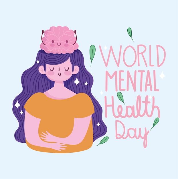 Werelddag voor geestelijke gezondheid, jonge vrouw met menselijk brein cartoon Premium Vector