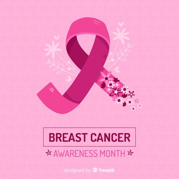 Werelddag voor kanker met roze designlint Gratis Vector