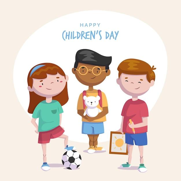 Werelddag voor kinderen Gratis Vector