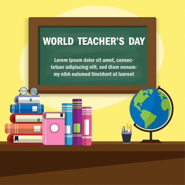 Werelddag voor leerkrachten Premium Vector