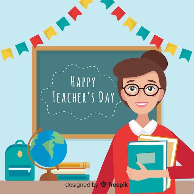 Werelddag voor leraren plat Gratis Vector