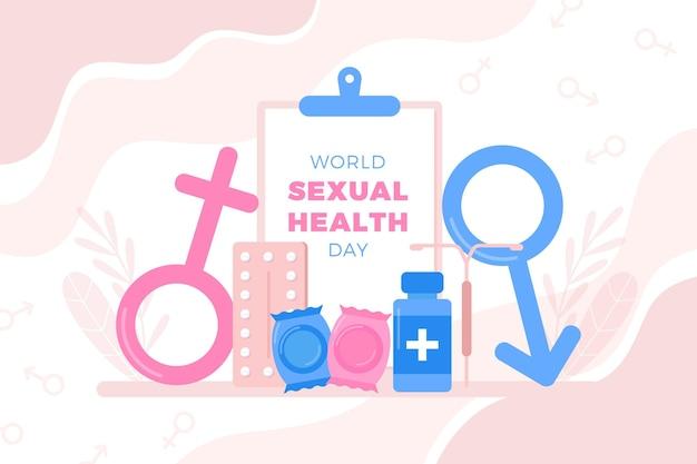 Werelddag voor seksuele gezondheid met geslachtsborden Gratis Vector