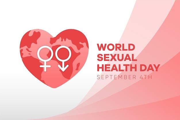 Werelddag voor seksuele gezondheid met geslachtstekens en hartachtergrond Gratis Vector