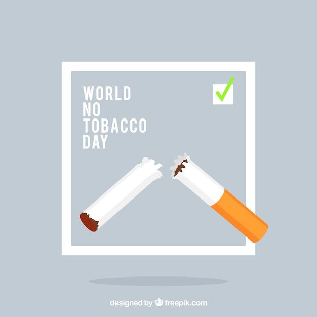 Werelddag zonder tabak achtergrond met gebroken sigaret Gratis Vector