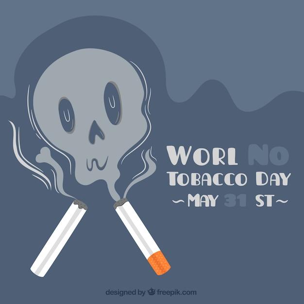 Werelddag zonder tabak achtergrond met rook schedel Gratis Vector