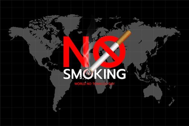 Werelddag zonder tabak: concept van rookvrij tekstontwerp op de achtergrond van de wereldkaart. Premium Vector