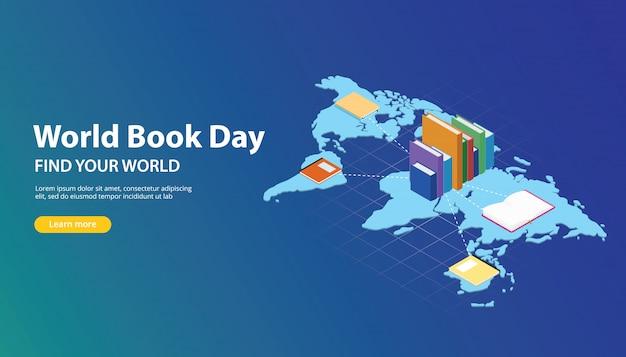 Werelddagboek website-bannerontwerp met wereldkaarten Premium Vector