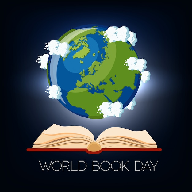 Werelddagboek wenskaart met open boek en earth globe met wolken op donkerblauwe achtergrond. Premium Vector