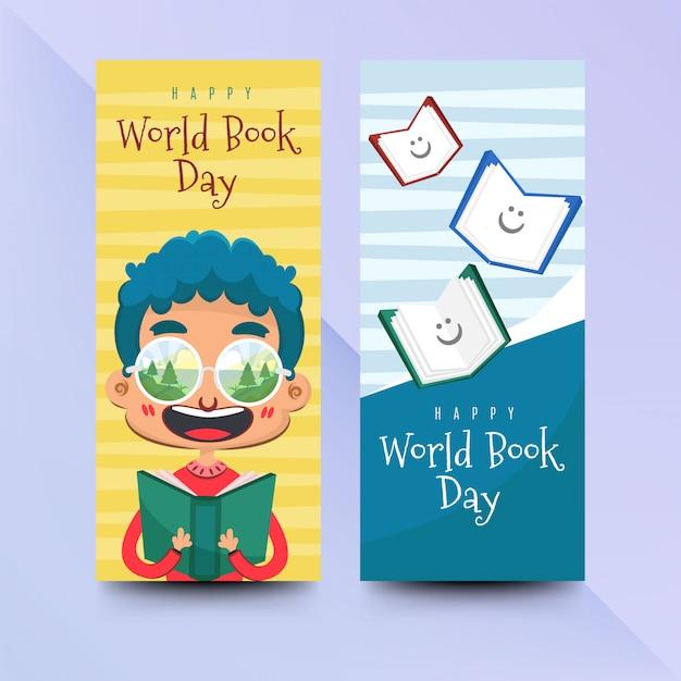 Werelddagboekbanners in vlakke stijl Premium Vector