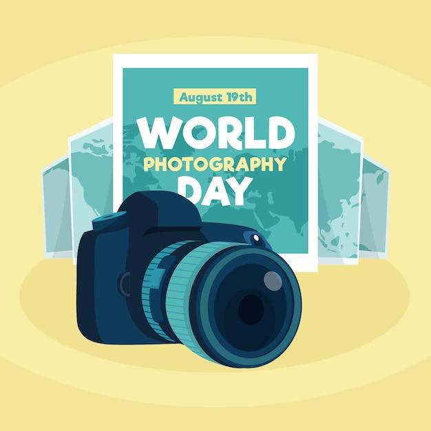Wereldfotografie dag in plat ontwerp Gratis Vector