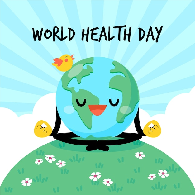Wereldgezondheidsdag aarde doet helende yoga Gratis Vector