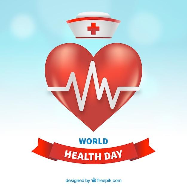 Wereldgezondheidsdag achtergrond met hart en verpleegkundige hoed Gratis Vector