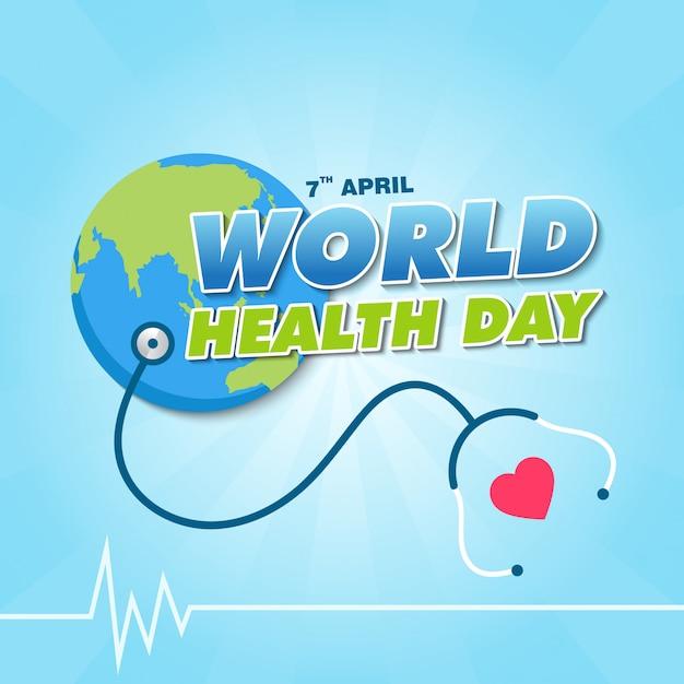 Wereldgezondheidsdag banner ontwerpsjabloon Premium Vector