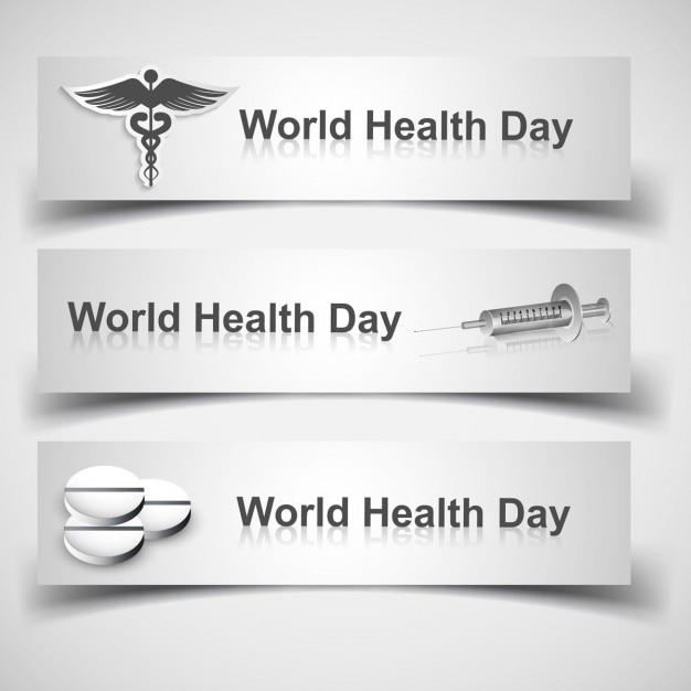Wereldgezondheidsdag headers Gratis Vector