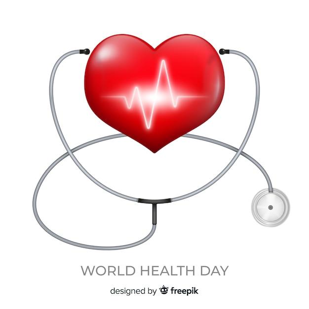 Wereldgezondheidsdag illustratie met hart en stethoscoop Gratis Vector