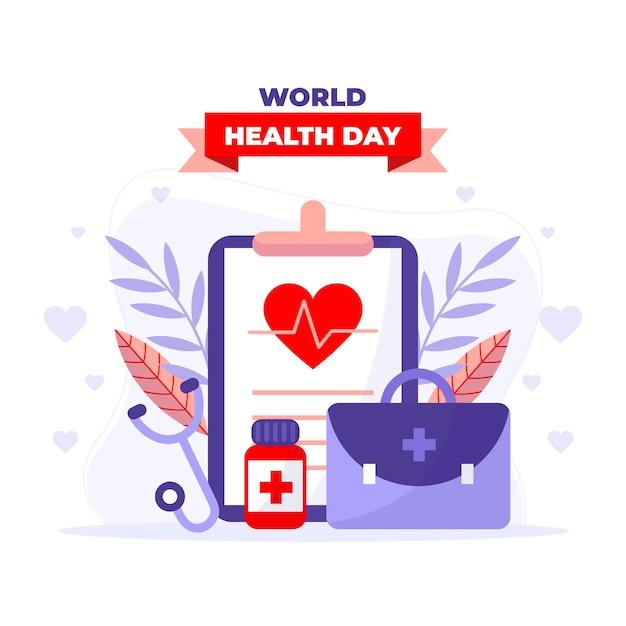 Wereldgezondheidsdag illustratie met klembord en ehbo-kit Gratis Vector