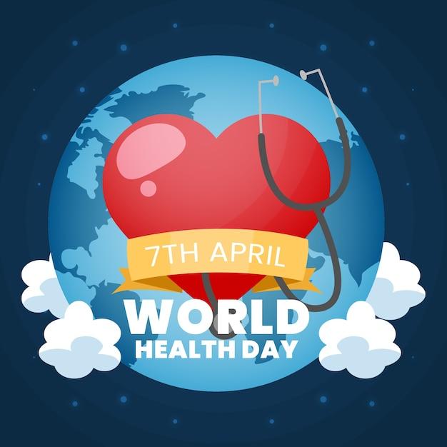 Wereldgezondheidsdag met hart en stethoscoop Gratis Vector