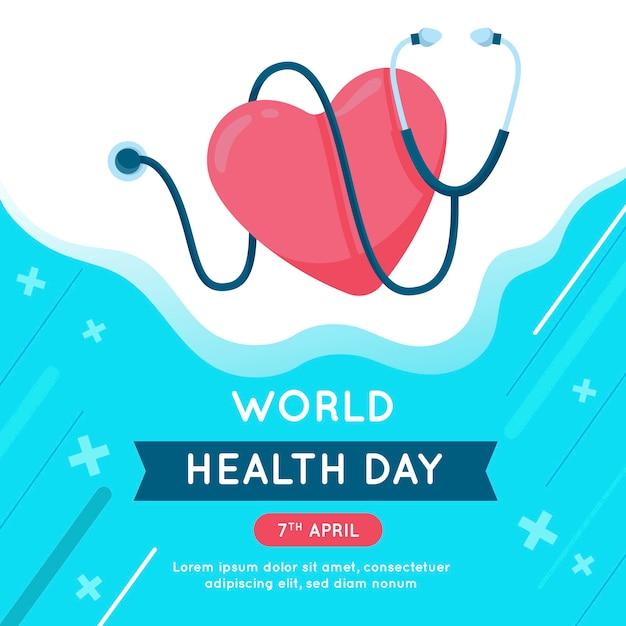 Wereldgezondheidsdag plat ontwerp Gratis Vector