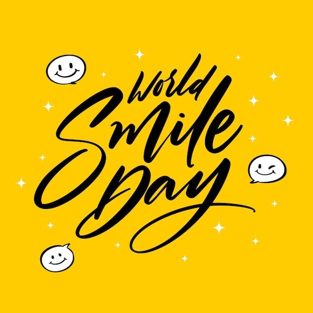 Wereldglimlachdag met blij gezicht belettering Gratis Vector