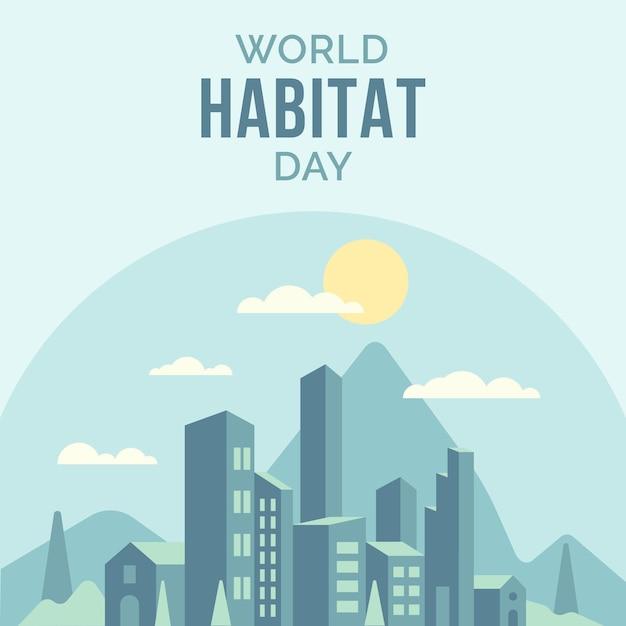 Wereldhabitat dag plat ontwerp Gratis Vector